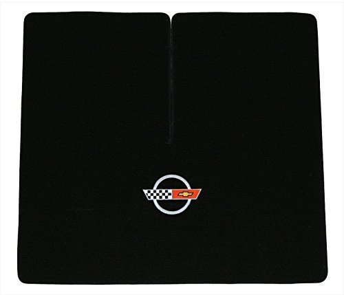 (Lloyd Mats 1984-1996 C4 Corvette Coupe Classic Loop Black Deck Mat Silver Flags Logo)