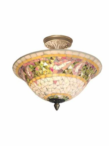 Dale Tiffany 8780/3LTF Bradshaw Mosaic Flush Mount Light, Antique Brass and Art Glass Shade ()