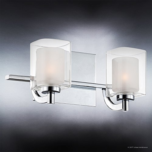 Luxury Modern Bathroom Vanity Light, Medium Size: 6''H x 13''W, with Posh Style Elements, Polished Chrome Finish and Sand Blasted Inner, Clear Outer Glass, G9 LED Technology, UQL2401 by Urban Ambiance by Urban Ambiance (Image #2)