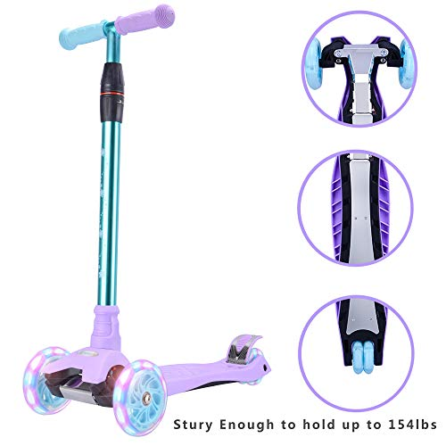 (WonderView Kick Scooter Kids 3 Wheel Scooter, 4 Height Adjustable Pu Wheels Extra Wide Deck Best Gifts Kids, Boys Girls, Purple)