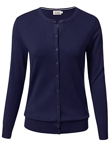 Blue Long Sleeve Sweater (Women Button Down Long Sleeve Crewneck Soft Knit Cardigan Sweater L Navy)