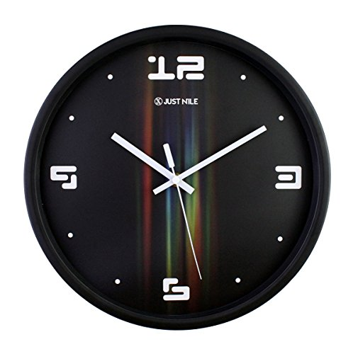 Precision Quartz Movement - JustNile 12-inch Silent Wall Quartz Clock with Modern & Creative Black Frame; Extreme Time Precision; Smooth Hand Non-Ticking Movement – Black face with Gradient Colors