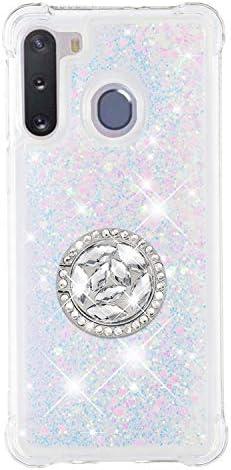 Hülle für Samsung Galaxy A21 Diamant Ring Flüssig Treibsand Silikon TPU Bumper Hülle für Samsung Galaxy A21(Lila)