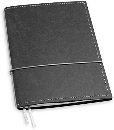 A6, revolutionär + 7 mm dünn! X17- Notizbuch! Recyceltes Leder, grau; Inhalt: 1 Notizheft (kariert)+Buchband, austauschbar=nachhaltig! Made in Germany, 17 Jahre Garantie*
