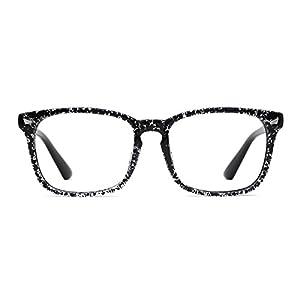 TIJN Unisex Oversized Square Wayfarer Non-prescription Eyeglasses Frame,Ashy