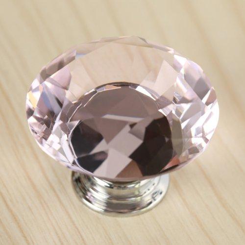 Revesun 40mm 7PCS Pink Glass Clear Cabinet Knob Drawer Pull Handle Kitchen Door Wardrobe Hardware