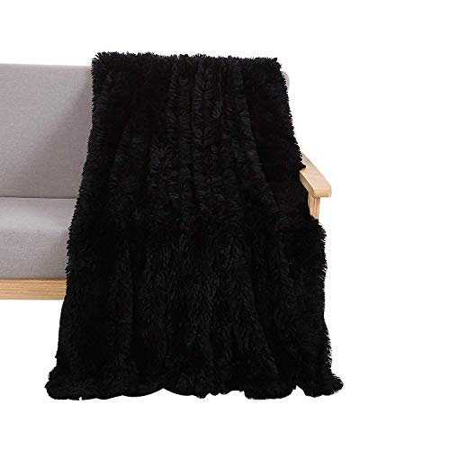 YOUSA Super Soft Shaggy Faux Fur Blanket Ultra Plush Decorative Throw Blanket 51''x63'', Black