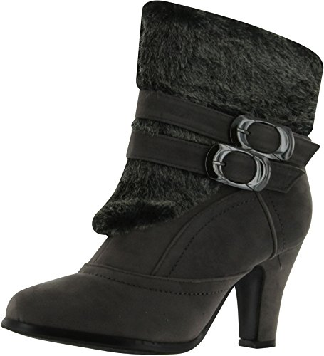 Anna Nb200-08 Women's High Heel Ankle Boots With Fake Fur Trim,Grey,7