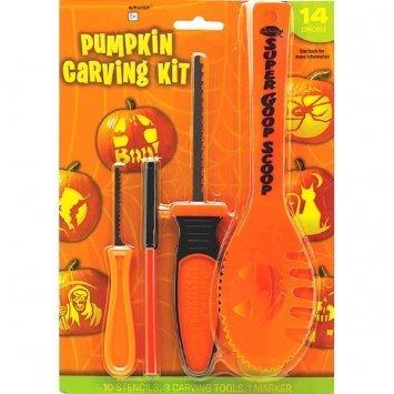 Halloween Decoration Tools ~ 14 Pc Halloween Basic Jack O Lantern Pumpkin Carving Kit with (Spooky Halloween Pumpkin Carving Patterns)