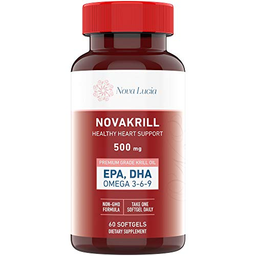 Natural Krill Oil Omega 3 6 9 Supplement, Burpless 60 Red Liquid Softgels, Rich in Cholesterol Balancing EPA, DHA, Astaxanthin Supports Heart, Brain Health, No Fishy Aftertaste, 1000mg per 2 Softgels