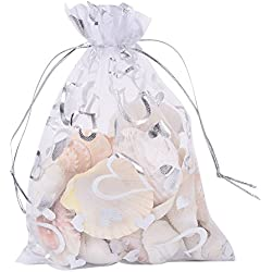 Pandahall 100 PCS 5x7 Inches Heart Printed White Organza Bags Jewelry Pouch Bags Organza Velvet Drawstring Pouches Wedding Favors Candy Gift Bags