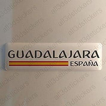 Pegatina Guadalajara España Resina, Pegatina Relieve 3D Bandera Guadalajara España 120x30mm Adhesivo Vinilo: Amazon.es: Coche y moto