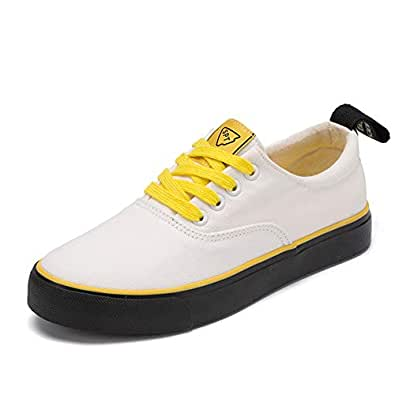 Men's and Women's Sports Shoes Walking Casual Shoes lace Low Canvas Shoes(Yellow 38/7.5 B(M) US Women)