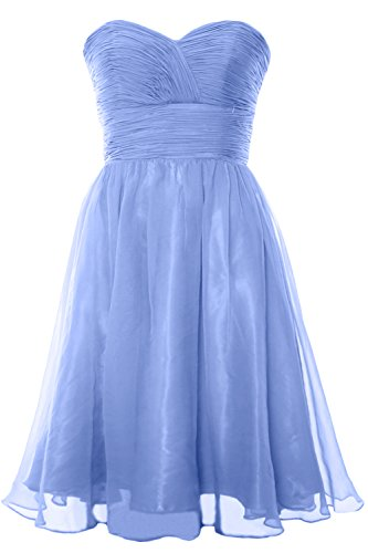 Strapless Himmelblau Dress Bridesmaid Gown Cocktail Party Short 2017 MACloth Formal Chiffon PxwX5R1