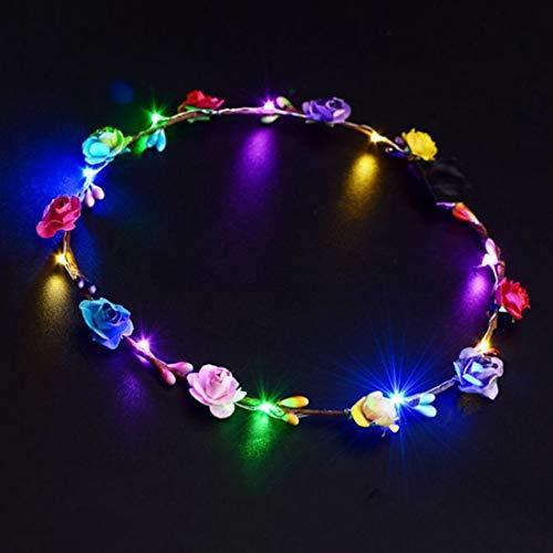 LED Glowing Wreath Flower Crown Hair Band Wedding Floral Garland Festival Flower Headdress Hair Accessory Festival