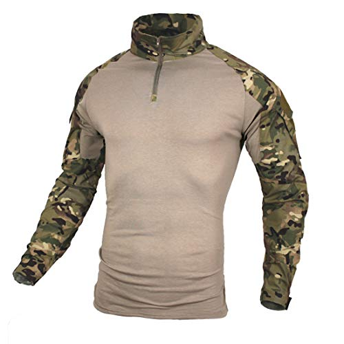 Tactical Shirt [ Cozy・Dry Quickly・Breathable ] Combat Military Uniforms Army Camo Top (CP, US XL=Asian Tag 3XL)