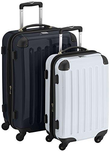 HAUPTSTADTKOFFER - Alex - 2er Koffer-Set Hartschale glänzend, 65 cm + 55 cm, 74 Liter + 42 Liter, Graphit-Blau Schwarz-weiß