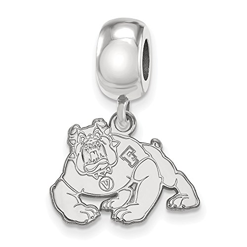 Sterling Silver LogoArt Official Licensed Collegiate California State University (CSU) Fresno Sm Dangle Bead Charm by LogoArt