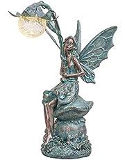 TERESA'S COLLECTIONS Zittende Elfen Tuinfiguren Zonne-energie Glazen Ballen Verlichting 41cm Bronzen Engel Standbeeld Polystein Tuinfiguren Zonne-figuren Fairy Standbeeld