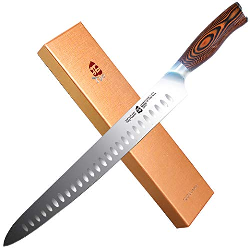 "TUO Cutlery Slicing Carving Knife - HC German Stainless steel - Meat Knife with Ergonomic Pakkawood Handle - 9"" - Fiery Series"