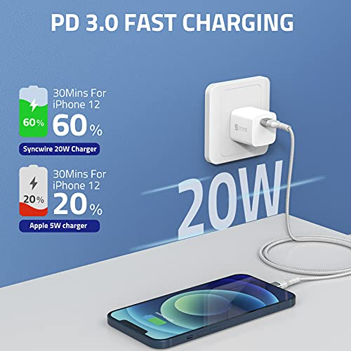 Syncwire 20W USB C Charger, Ultra Compact PD 3.0 Fast Charger Block USB C Wall Charger Type-C Power Delivery USB-C Power Adapter Compatible for iPhone 13/13 Pro/13 mini/13 Pro Max/12/12 Pro/12 Pro Max