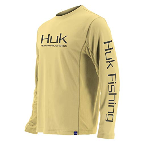 Huk Men's Icon X Long Sleeve Shirt, Butter, 3X-Large