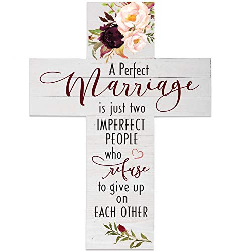 LifeSong Milestones A Perfect Marriage Decorative Wall Cross for New Couples, Engagement, Wedding Anniversary Housewarming Gift -
