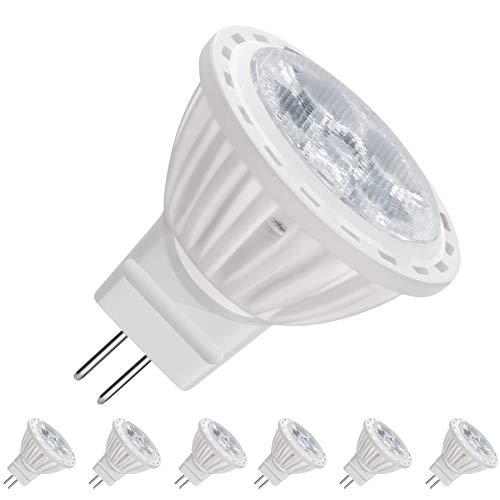 Mr11 Track - MR11 GU4.0 LED Light Bulbs, 4 Watt, Dimmable 400 Lumen, 12 Volt, 40W Halogen Bulbs Equivalent, Landscape Accent Recessed Track Lighting (6 Pack, Daylight White)