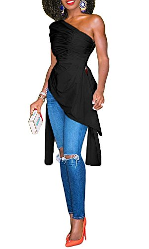 Imily bela Women's Short Sleeve Ruched Draped One Shoulder Top Blouses (X-Large, Black) (One Shoulder Ruched Top)