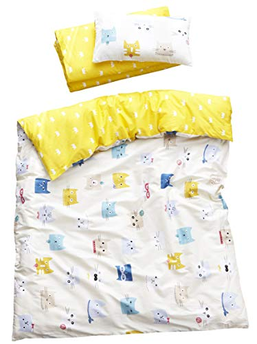 MEJU Cats Kitty 100% Cotton Duvet Cover + Pillowcase Bedding Set with Zipper Closure for Baby Toddler Boys Girls Crib Bed Decoration Gift (1)