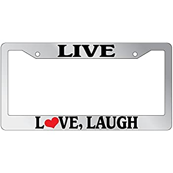 Amazon.com: GSF Frames Chrome Metal License Plate Frame Live Love ...