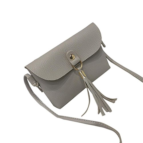 - GREFER Fashion Vintage Handbag Flap Bag Small Mini Messenger Tassel Shoulder Bags< (Gray)