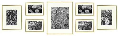 Double Photo Sided Frames - Golden State Art, Metal Wall Photo Frame Collection, Set of 7, Aluminum Gold Photo Frame with Ivory Color Mat & Real Glass