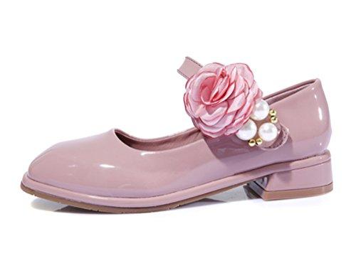 Mädchen Partei Kleid Schuhe Blume Niedrige Ferse Tanz Mary Jane PU Leder Schuh Pink