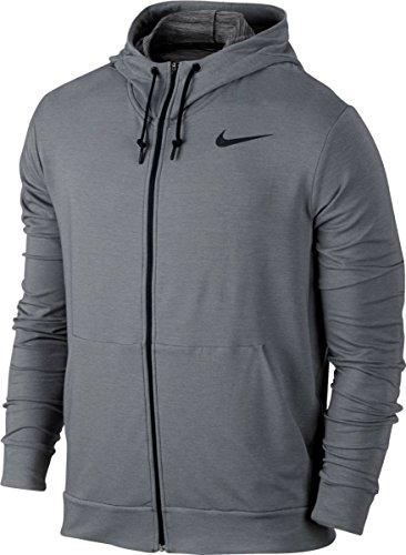 Nike Dri-FIT Fleece Full-Zip Men's Training Hoodie, Cool Grey/Black, Large