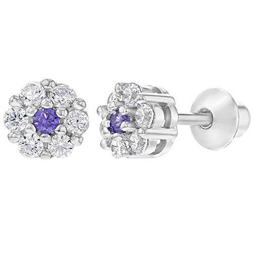 9e3b43ac9f3c In Season Jewelry - 925 Plata de Ley Flor Circonita Clara y Morada Aretes  con Cierre