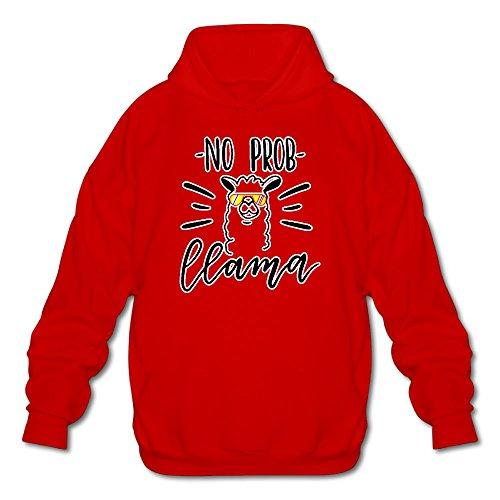 Mpiqw Mens Pas Prob Sweat À Capuche Pull-over Rouge Llama Confortable Sweat-shirt À Capuche