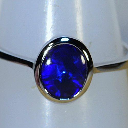 Solid Lightning Ridge black blue Opal 18k white gold Dress/Engagement ring (14786 ()