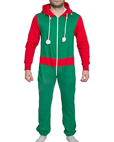 (New Unisex Santa Elf Xmas Onesie Mens Womens All In One Novelty Christmas Suit-UK 6/8-Elf Green (50% Polyester 50%)