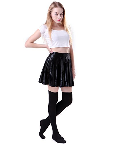 HDE Women's Solid Color Opaque Over the Knee High Stockings Socks (Black)