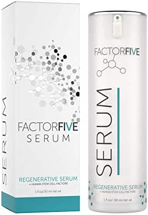 FactorFive Regenerative Serum with Human Derived Apidose Stem Cell Growth Factors, HGF for Skin Tightening and Smoothing, Wrinkle Reduction, and Rejuvenation -Large Size, 1fl oz/30ml