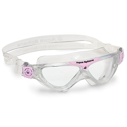 (Aqua Sphere Vista Junior Swim Mask with Clear Lens (Glitter/Light Pink). UV Protection Anti-Fog Swim Goggles for Kids)