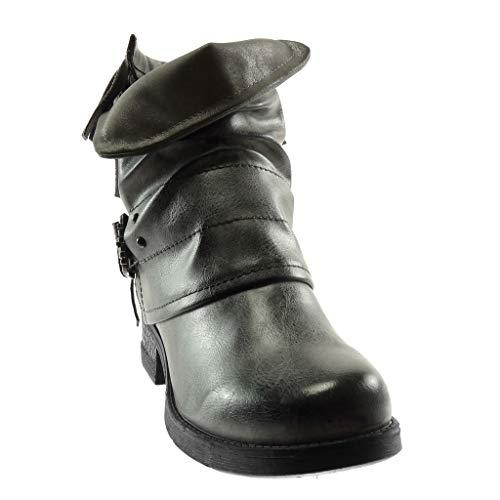 3 Mode Motard Intérieur Chaussure Lanière Fourrée 5 Frange Haut Angkorly Bottine Effet Gris Couverte Bloc Talon Femme Boucle Vieilli 5 Cm qt6dS5wdW