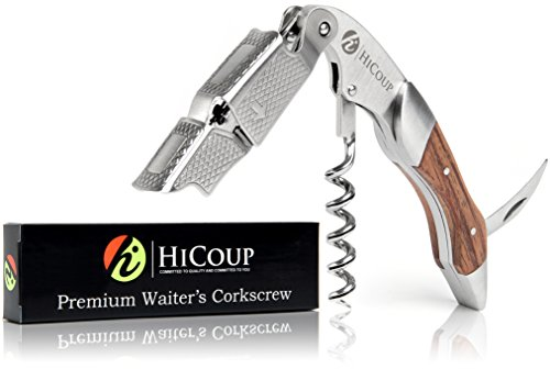 1 Stainless Waiter Style Corkscrew - Waiters Corkscrew by HiCoup - Professional Stainless Steel with Rosewood Inlay All-in-one Corkscrew, Bottle Opener and Foil Cutter, the Favoured Wine Opener of Sommeliers, Waiters and Bartenders