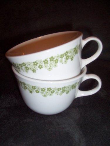 - Set of 2 Vintage Corelle Spring Blossom Green Cups / Mugs 2 3/4