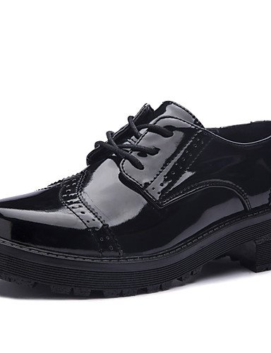 Black Black Cuña De Zapatos oficina Uk6 Cn40 Uk6 Eu39 Y 5 Zq oxfords 5 us8 tacón Gladiador Trabajo cuero cuñas Vestido negro Cn39 Casual Mujer us8 fABIxnqZw