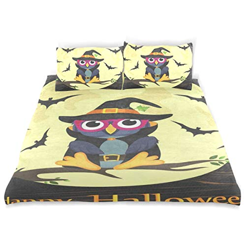 Bedding Duvet Cover Set 3 Pieces Halloween Owl in Witch Costume Bed Sheets Sets and 2 Pillowcase for Teens