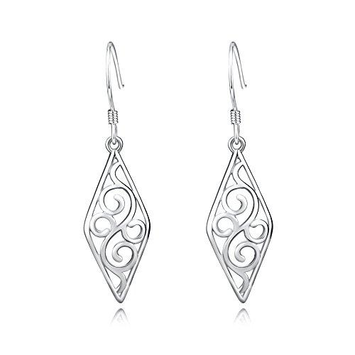 Filigree Dangle Earrings Sterling Silver Geometric Dangle Drop Earrings for Women Girls