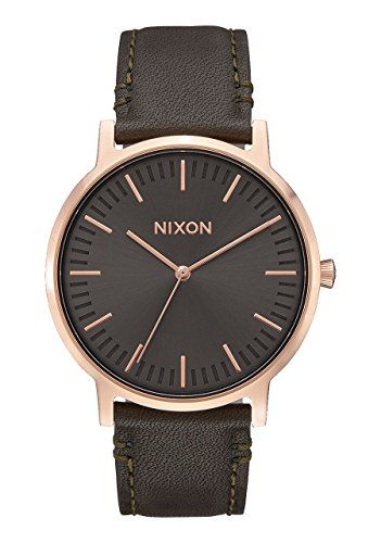 NEW Nixon Porter Leather Watch Rose Gold Gunmetal with Surplus Band - Rose Gold Nixon Watch Mens