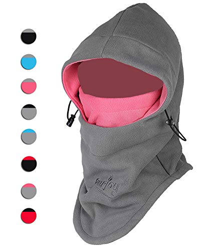 - Purjoy Multipurpose Use 6 in 1 Thermal Warm Fleece Balaclava Hood Police Swat Ski Bike Wind Stopper Full Face Mask Hats Neck Warmer Outdoor Winter Sports Snowboarding Cap(Grey+Rose)